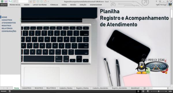 Planilha Registro e acompanhamento de atendimentos